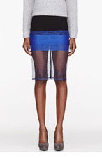 DION LEE Black colorblocked Bonded crepe & mesh Scaffold Skirt for women