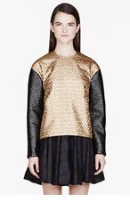 KENZO Gold Petals contrast-sleeve Brocade top for women