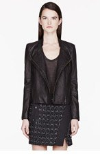 HELMUT LANG Black Pebbled leather Wither Jacket for women