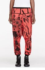 KTZ Red & Black 4 Cards Print Harem Pants for women