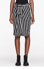 COMME DES GARÇONS Black & grey striped Folded Skirt Shorts for women