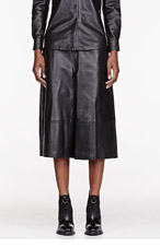 YANG LI Black buffed Leather Gaucho pants for women