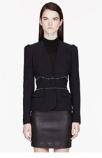 ALEXANDER MCQUEEN Black Crepe & pearl Leaf Blazer for women