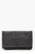 STELLA MCCARTNEY Charcoal Tweed Foldover Fallabella Clutch for women