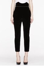 ALEXANDER MCQUEEN Black Velvet & Pearl Skinny Trousers for women