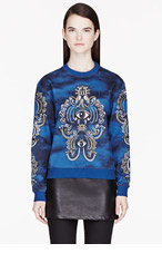 KENZO Blue Embroidered Ribbon Cloud Sweatshirt for women