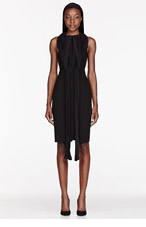 DION LEE Black Crepe Cut Away Pleated knot Dress for women