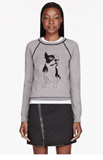 MARC BY MARC JACOBS Heather Grey Olive Dog Intarsia Sweatshirt for women