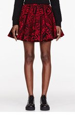 KTZ Red Velvet Card Print Multipaneled Pleated Skirt for women