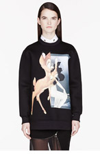GIVENCHY Black neoprene Baby Deer print Sweatshirt for women