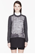 MARNI Grey mottled tree embroidered sweater for women