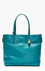 ALEXANDER MCQUEEN Teal Leather Skull Shopper Tote for women
