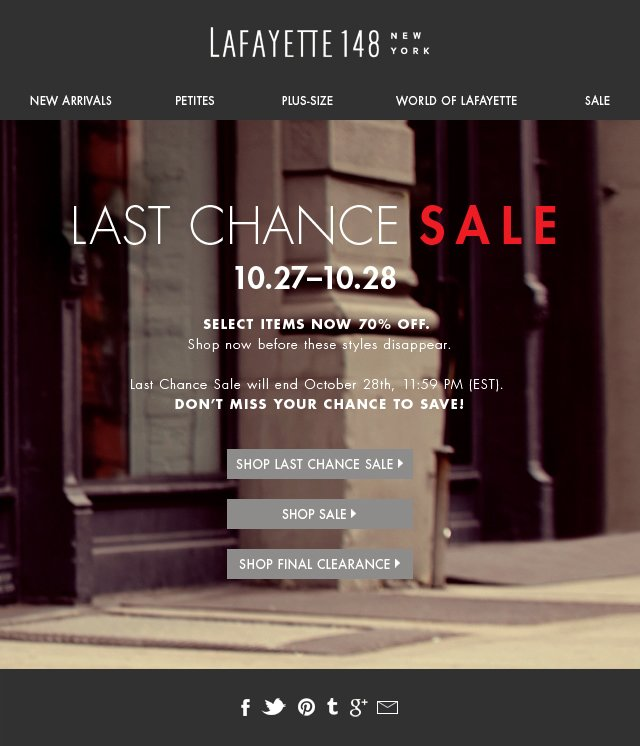 70% Off Last Chance Sale!