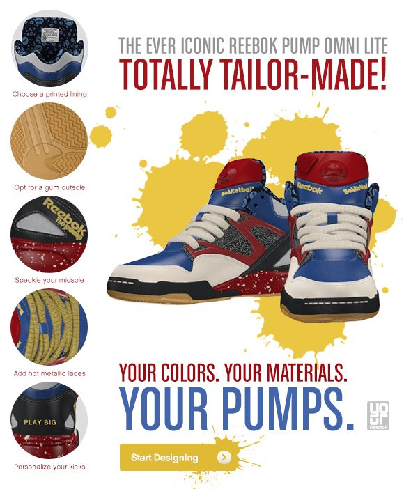 YOUR COLORS. YOUR MATERIALS. YOUR PUMPS. START DESIGNING