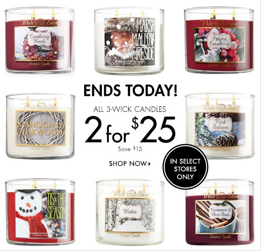3-Wick Candles - 2 for $25
