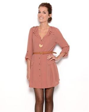 Double Zero Snap-Button Sheer Dress