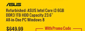 "refurbished: asus intel core i3 6gb ddr3 1tb hdd capacity 23.6"" all-in-one pc windows 8"
