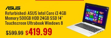 "refurbished: asus intel core i3 4gb memory 500gb hdd 24gb ssd 14"" touchscreen ultrabook windows 8"