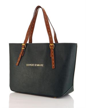 Giorgio Di Mare Two-Tone Logo Tote Made In Europe