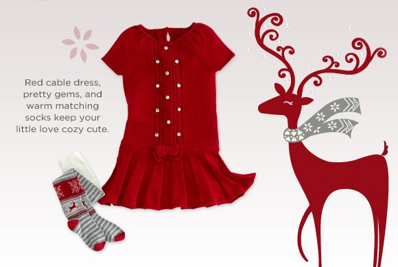 Red cable dress, pretty gems, and warm matching socks keep your little love cozy cute.