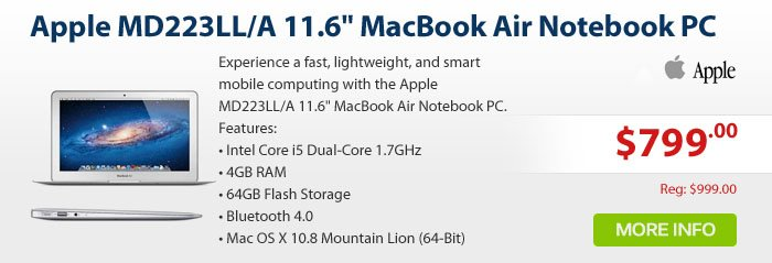 Adorama - Apple MD223LL/A 11.6 MacBook Air Notebook PC