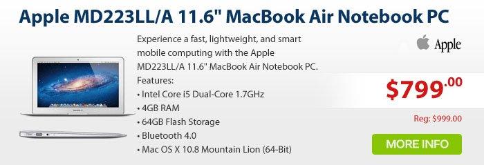 Adorama - Apple MD223LL/A 11.6 MacBook Air Notebook PC