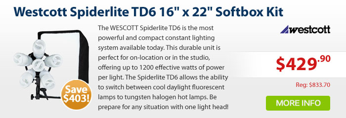 Adorama - Westcott Spiderlite TD6 16 x 22 Softbox Kit