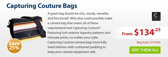 Adorama - Capturing Couture Bags 25% off