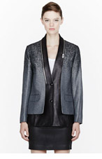 ALEXANDER WANG Black leather zip-trimmed Layered Blazer for women