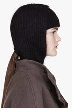 ALEXANDER WANG Black Mohair Ribbed Hooded Snood & Headband for women