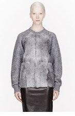 ALEXANDER WANG Grey Brushed Mohair And Goat Fur Sweater for women