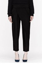 ALEXANDER WANG Black textured Asymmetric Draped Trousers for women