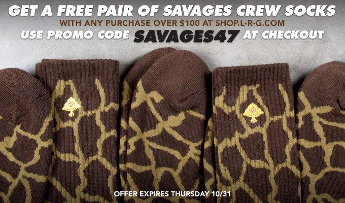 Free Savages Crew Socks - Use Promo Code SAVAGES47