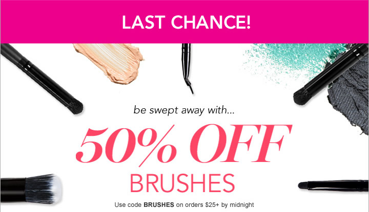be swept away with 50% OFF Brushes + free shipping. Code: BRUSHES - shop now