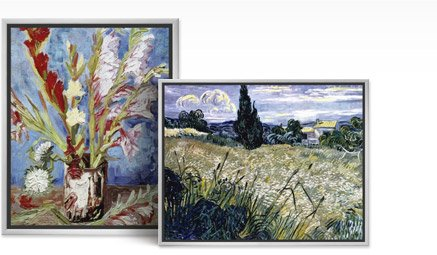 VASE WITH GLADIOLI and LANDSCAPE WITH GREEN CORN By: Vincent van Gogh