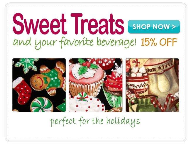 15% off Novelty Food & Beverage Fabrics