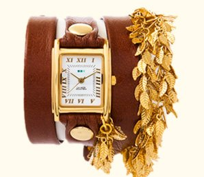 Multi Leaf Gold Chain Wrap Watch