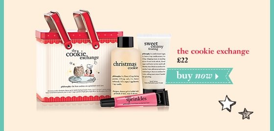 the cookie exchange christmas cookie shampoo, shower gel & bubble bath 4 oz.; sweet creamy frosting body lotion 2 oz.; and sugar sprinkles high-gloss, high-flavor lip shine 0.4 oz. £22 buy now