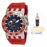 Invicta 12417 Men's DNA Diver Black Dial Red Rubber Strap Chronograph Watch with Ultimate Watch Care Kit