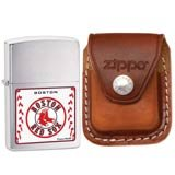Zippo 24602 Boston Red Sox Brushed Chrome Windproof Lighter with Zippo Brown Leather Clip Pouch