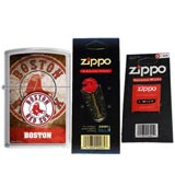 Zippo AD225 Classic MLB Boston Red Sox Street Chrome Windproof Lighter with One Flint Card and One Wick Card