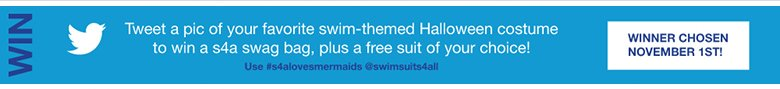 tweet a pic of your favorite swim-theme Halloween Costume to win a s4a swag bag, plus a free suit of your choice!