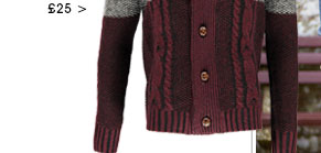 Shawl Neck Two Tone Cable Knit Cardigan