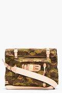 MASTER-PIECE Co Olive Camo Print Leather-Trimmed Roll-Top Surpass Messenger Bag for men