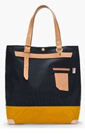MASTER-PIECE Co Navy Bi-Color Leather-trimmed DUO tote for men