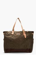 MASTER-PIECE Co Olive Green Leather-Trimmed Natural Dye Tote for men