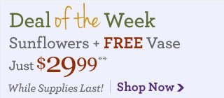 Deal of the Week Sunflowers + Free Vase, just $29.99** While Supplies Last! Shop Now