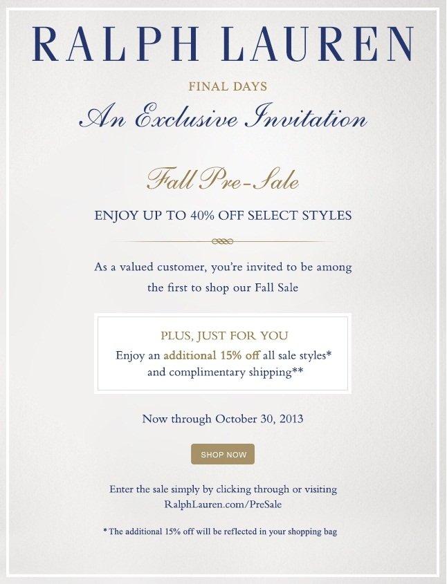 Fall Pre-Sale