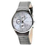 Skagen 329XLSLC Men's Denmark Black Leather Strap Silver Tone Dial Chronograph Watch