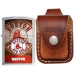 Zippo AD225 Classic MLB Boston Red Sox Street Chrome Windproof Lighter with Zippo Brown Leather Loop Pouch